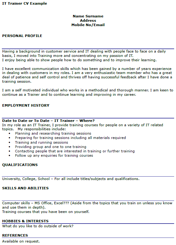 example cv for training