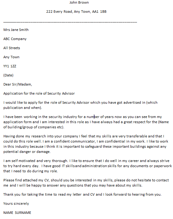 security advisor cover letter example