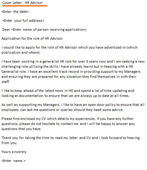 hr advisor cover letter example
