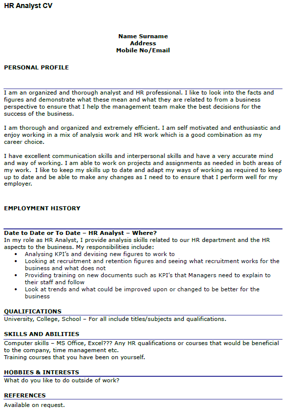 business analyst cv uk