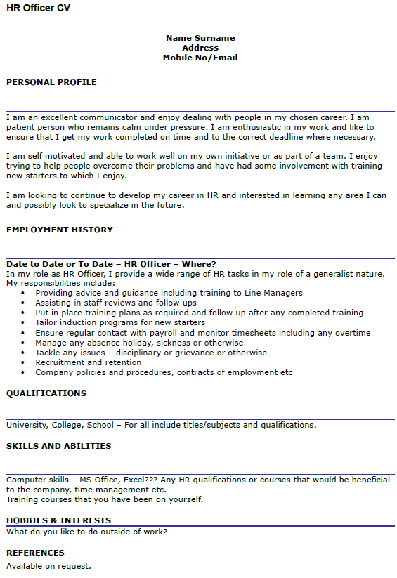 cv profile example hr