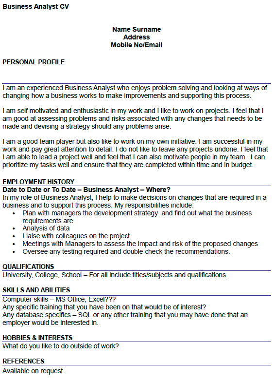 cv profile examples business analyst