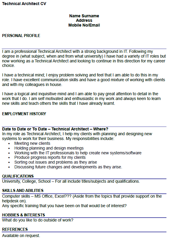 cv interests example