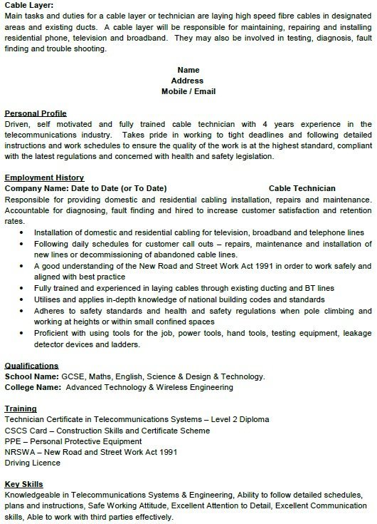 Cable Layer CV Example u2013 Cover Letters and CV Examples - cv example