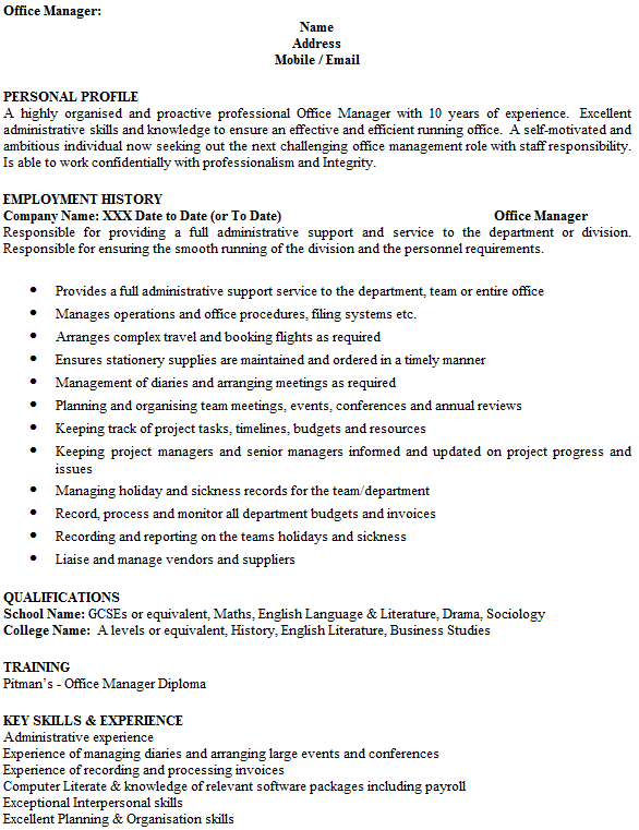cv office manager uk