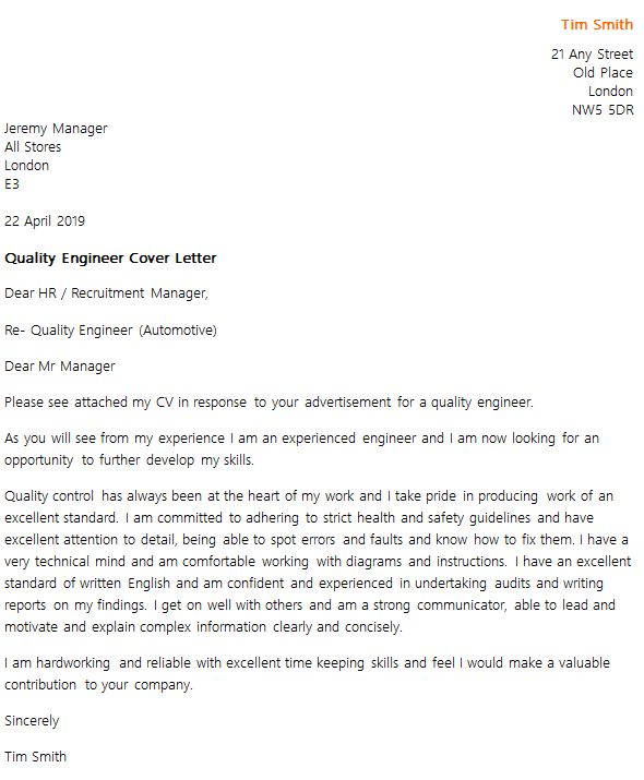 example of engineer cv letter