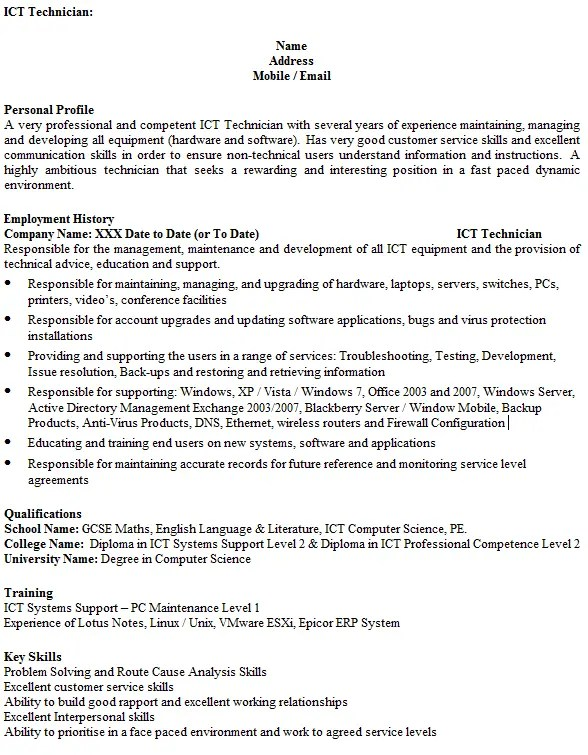 ict technician cv example