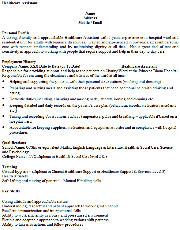 personal care assistant resume example