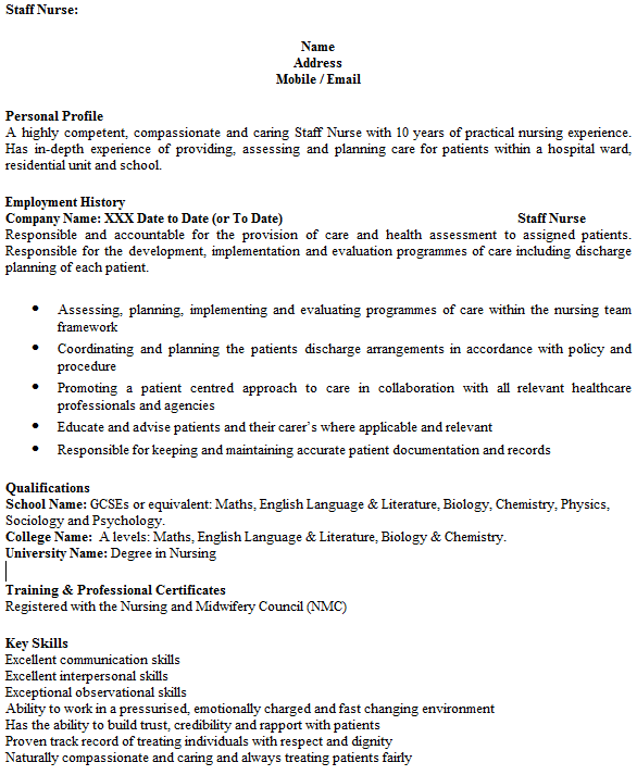 english cv example uk