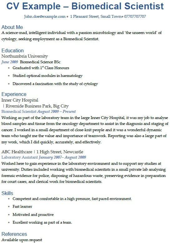 biomedical science resume template