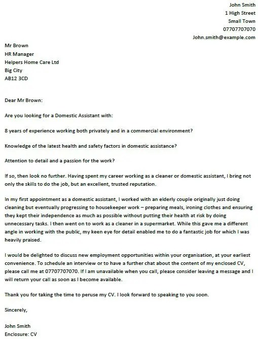 Domestic Assistant Cover Letter Example - icoverorguk