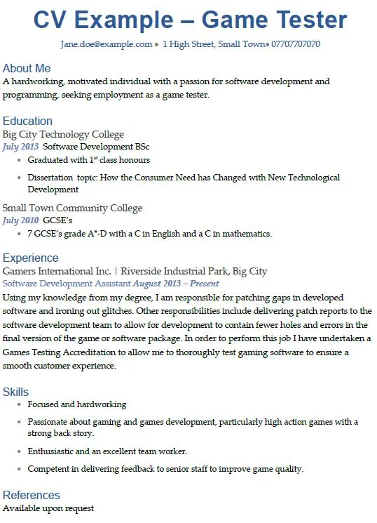 an example of an english cv