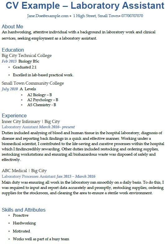 Laboratory Assistant CV Example - icoverorguk