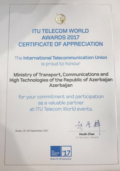 Azerbaijan was awarded a certificate of gratitude for active