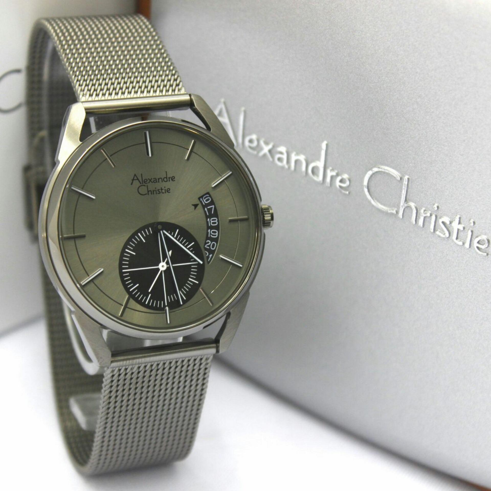 Alexandre Christie AC8548MS Jam Tangan Fashion Pria Murah Design Rantai Pasir Steel Chrono