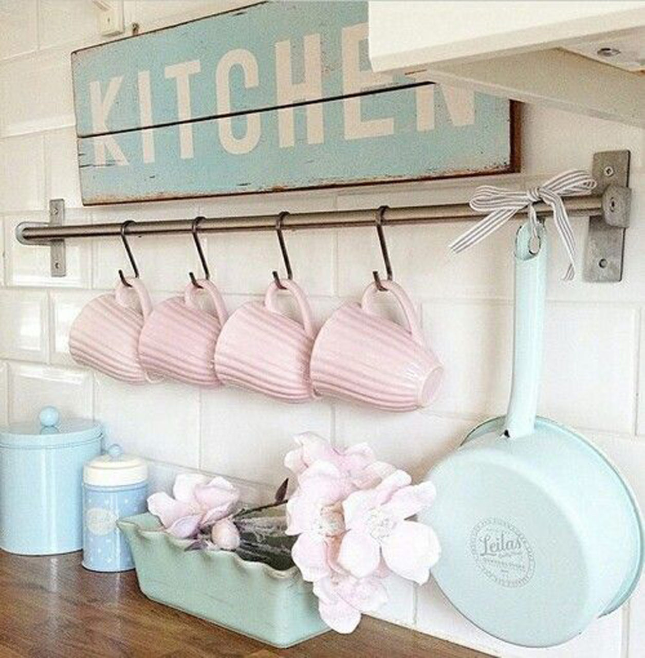 Pastel Pink Kitchen Accessories Rinnovare Casa In Stile Shabby Chic
