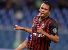 LUIGI FERRARIS, GENOA, ITALY - 2016/09/16: Carlos Bacca celebrates after scoring during the Serie A football match between UC Sampdoria and AC Milan. AC Milan wins 1-0 over UC Sampdoria. (Photo by Nicolò Campo/Pacific Press/LightRocket via Getty Images)
