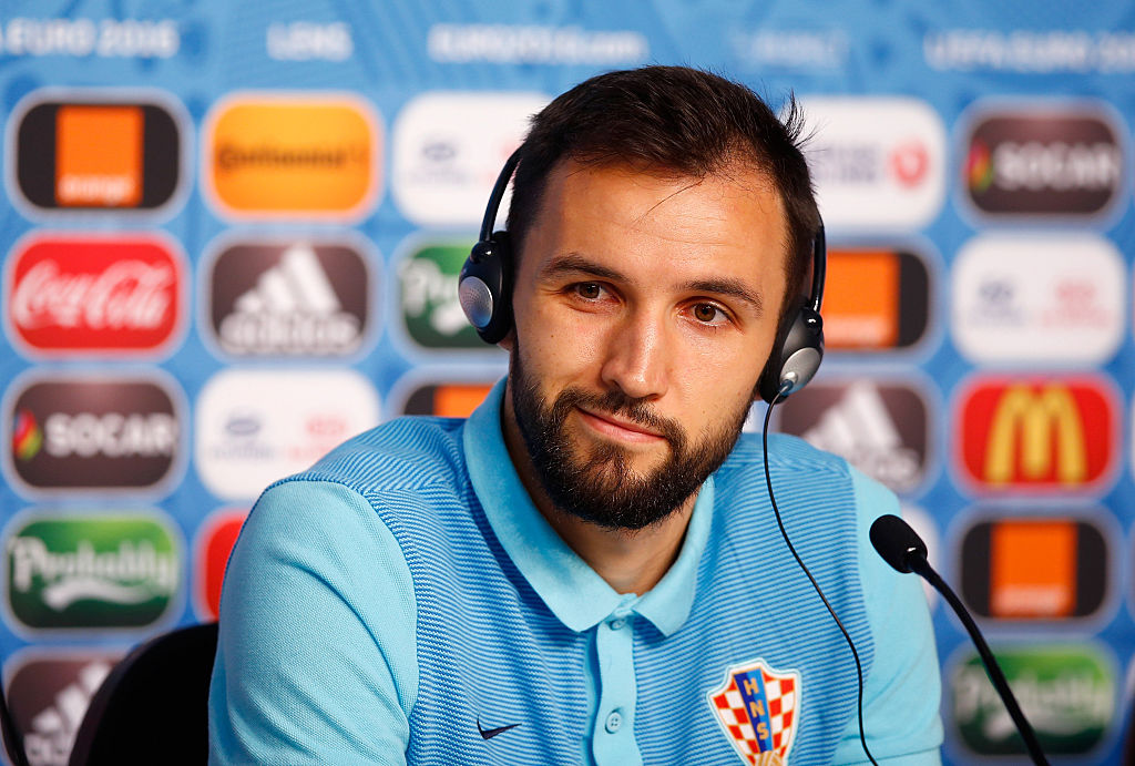 LENS, FRANCE - JUNE 24:  In this handout provided by UEFA,  Milan Badelj of Croatia talks to the media during the Croatia Press Conference at the Stade Bollaert-Delelis on June 24, 2016 in Lens, France. (Photo by Handout/UEFA via Getty Images)