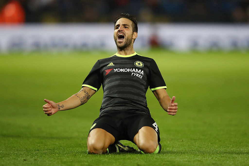 LEICESTER, ENGLAND - SEPTEMBER 20:  Cesc Fabregas of Chelsea celebrates scoring his sides fourth goal during the EFL Cup Third Round match between Leicester City and Chelsea at The King Power Stadium on September 20, 2016 in Leicester, England.  (Photo by Julian Finney/Getty Images)