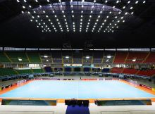 CALI, COLOMBIA - SEPTEMBER 28: The Stadium is seen  prior to the FIFA Futsal World Cup Semi Final match between Argentina and Portugal at the Coliseo el Pueblo Stadium on September 28, 2016 in Cali, Colombia. (Photo by Ian MacNicol - FIFA/FIFA via Getty Images)