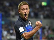 SAITAMA, JAPAN - SEPTEMBER 01:  Keisuke Honda #4 of Japan celebrates after scoring a goal during the 2018 FIFA World Cup Qualifiers Group B match between Japan and United Arab Emirates at Saitama Stadium on September 1, 2016 in Saitama, Japan.  (Photo by Kaz Photography/Getty Images)