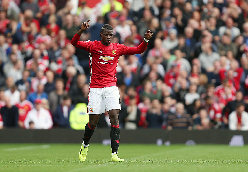MANCHESTER, ENGLAND - SEPTEMBER 24: Paul Pogba of Manchester United celebrates after scoring a goal to make it 4-0 during the Premier League match between Manchester United and Leicester City at Old Trafford on September 24, 2016 in Manchester, England. (Photo by James Baylis - AMA/Getty Images)