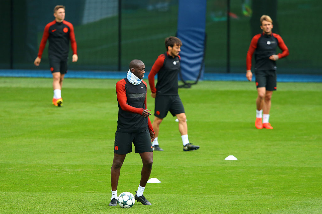 during a training session on the eve of their UEFA Champions League Group C match against Celtic at the City Football Academy on September 27, 2016 in Manchester, England.