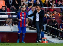 The FC Barcelona player Lionel Messi from Argentina and the FC Barcelona coach Luis Enrique from Spain during the La Liga match between FC Barcelona and Deportivo at the Camp Nou stadium on October 15, 2016 in Barcelona, Spain.  (Photo by Xavier Bonilla/NurPhoto via Getty Images)