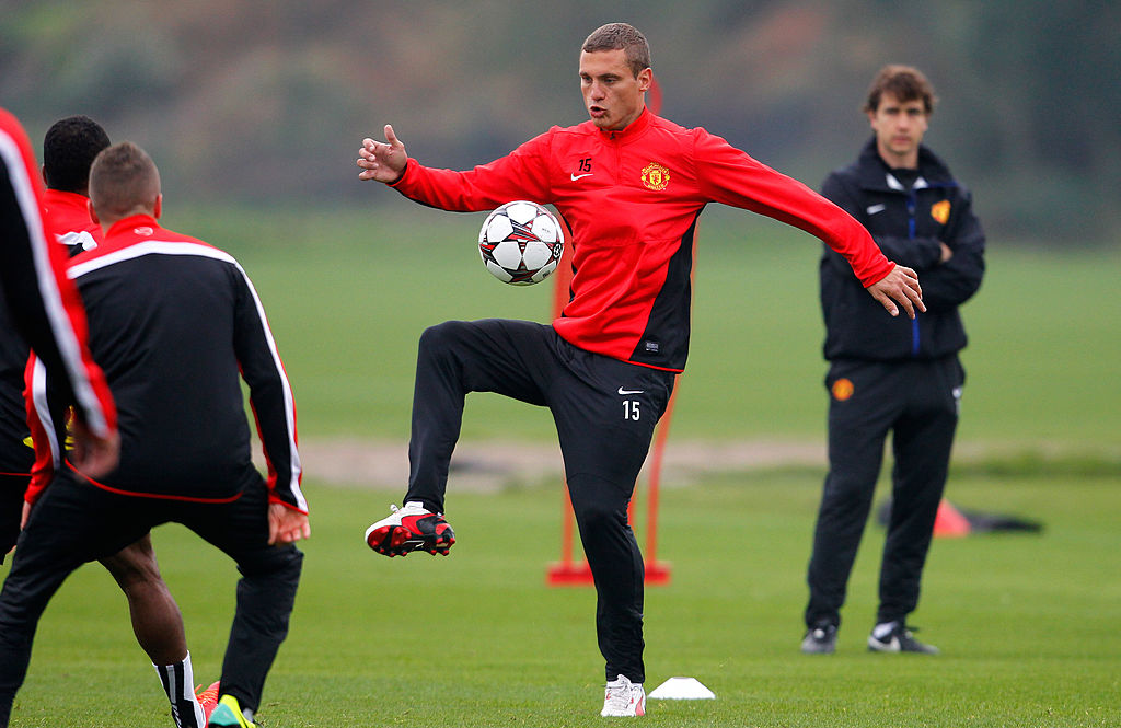 MANCHESTER, ENGLAND - OCTOBER 01: Nemanja Vidic of Manchester United in action during a training session ahead of their Champions League Group A match against Shakhtar Donetsk at their Carrington Training Complex on October 01, 2013 in Manchester, England (Photo by Paul Thomas/Getty Images)