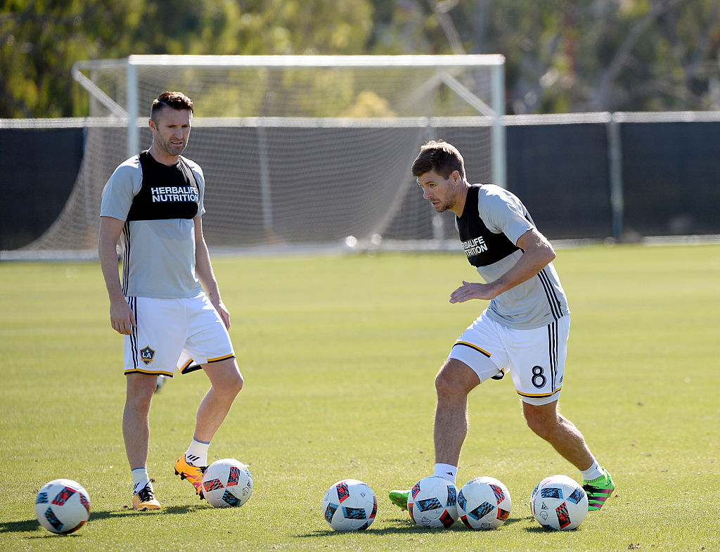 CARSON, CA - FEBRUARY 5: Steven Gerrard #8 and Robbie Keane of the Los Angeles Galaxy train at StubHub Center February 5, 2016, in Carson, California. (Photo by Kevork Djansezian/Getty Images)