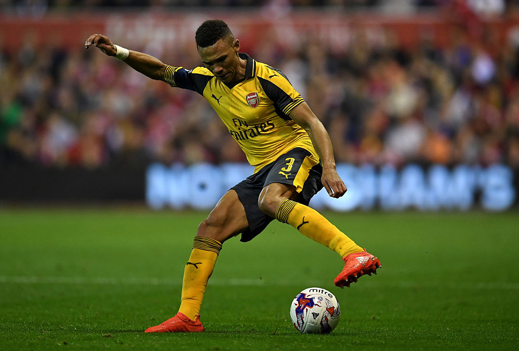 NOTTINGHAM, ENGLAND - SEPTEMBER 20:  Kieran Gibbs of Arsenal in action during the EFL Cup Third Round match between Nottingham Forest and Arsenal at City Ground on September 20, 2016 in Nottingham, England.  (Photo by Shaun Botterill/Getty Images)