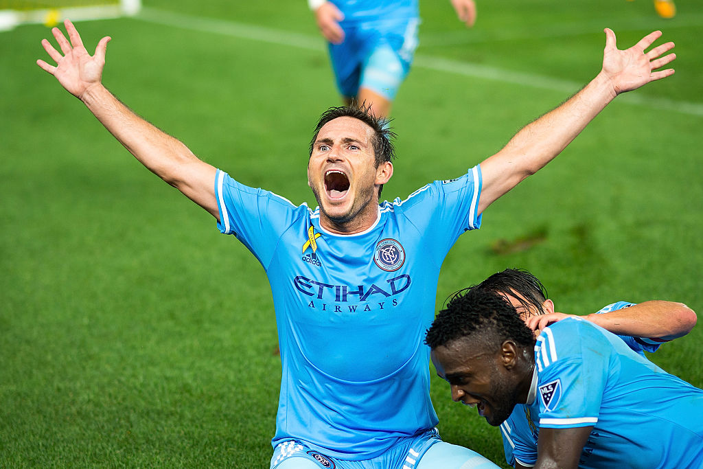 NEW YORK, NY - SEPTEMBER 01:  Midfielder Frank Lampard #8 of New York City FC celebrates after scoring a goal during the match vs D.C. United at Yankee Stadium on September 1, 2016 in New York City. New York City FC defeats D.C. United 3-2.  (Photo by Michael Stewart/Getty Images)