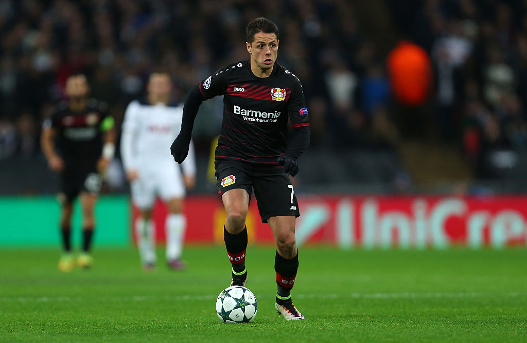 LONDON, ENGLAND - NOVEMBER 02: Javier Hernandez of Bayer Leverkusen during the UEFA Champions League match between Tottenham Hotspur FC and Bayer 04 Leverkusen at Wembley Stadium on November 2, 2016 in London, England. (Photo by Catherine Ivill - AMA/Getty Images)
