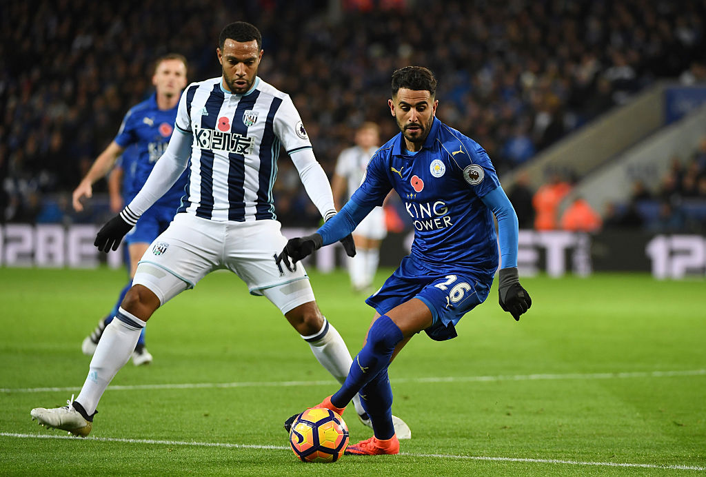 LEICESTER, ENGLAND - NOVEMBER 06:  Matt Phillips of West Bromwich Albion closes down Riyad Mahrez of Leicester City during the Premier League match between Leicester City and West Bromwich Albion at The King Power Stadium on November 6, 2016 in Leicester, England.  (Photo by Ross Kinnaird/Getty Images)