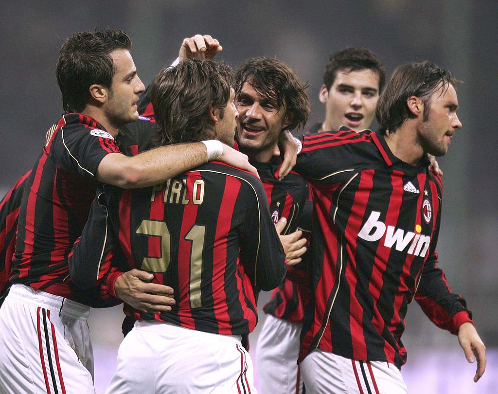 MILAN, ITALY - NOVEMBER 25:  Paolo Maldini of AC Milan celebrates his goal during the Serie A match between AC Milan and Messina at the San Ciro stadium on November 25, 2006 in Milan Italy.  (Photo by New Press/Getty Images)