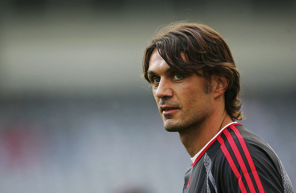ATHENS, GREECE - MAY 22:  Paolo Maldini, the Milan captain looks on during an AC Milan training session prior to the UEFA Champions League Final between AC Milan and Liverpool at the Olympic Stadium on May 22, 2007 in Athens, Greece.  (Photo by Laurence Griffiths/Getty Images)