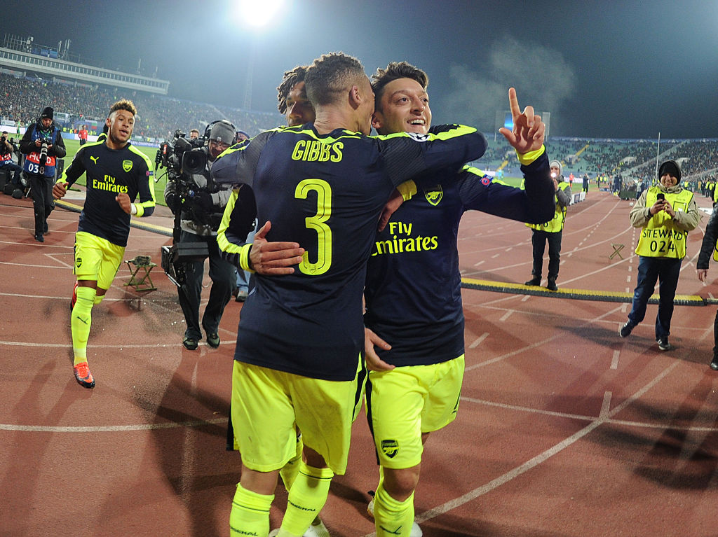 SOFIA, BULGARIA - NOVEMBER 01:  (R) Mesut Ozil celebrates scoring the 3rd Arsenal goal with Kieran Gibbs during the UEFA Champions League match between PFC Ludogorets Razgrad and Arsenal FC at Vasil Levski National Stadium on November 1, 2016 in Sofia, Bulgaria.  (Photo by Stuart MacFarlane/Arsenal FC via Getty Images)