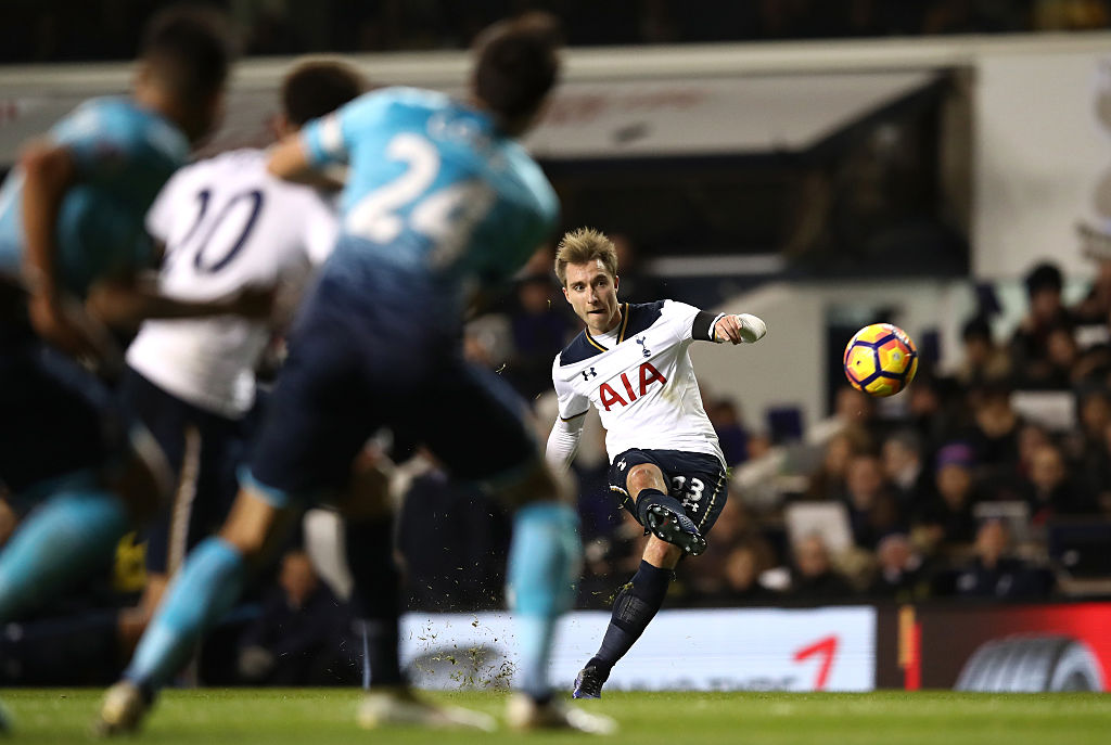 LONDON, ENGLAND - DECEMBER 03:  Christian Eriksen of Tottenham Hotspur takes a free kick during the Premier League match between Tottenham Hotspur and Swansea City at White Hart Lane on December 3, 2016 in London, England.  (Photo by Julian Finney/Getty Images)