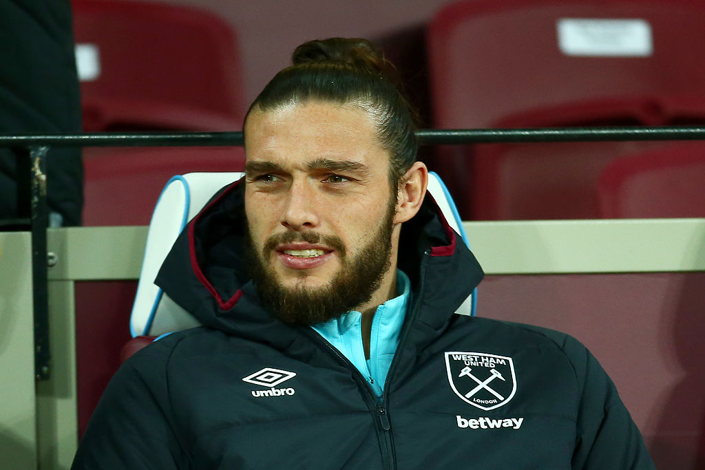 LONDON, ENGLAND - DECEMBER 03:  Andy Carroll of West Ham looks on from the bench before the Premier League match between West Ham United and Arsenal at London Stadium on December 3, 2016 in London, England.  (Photo by Jordan Mansfield/Getty Images)