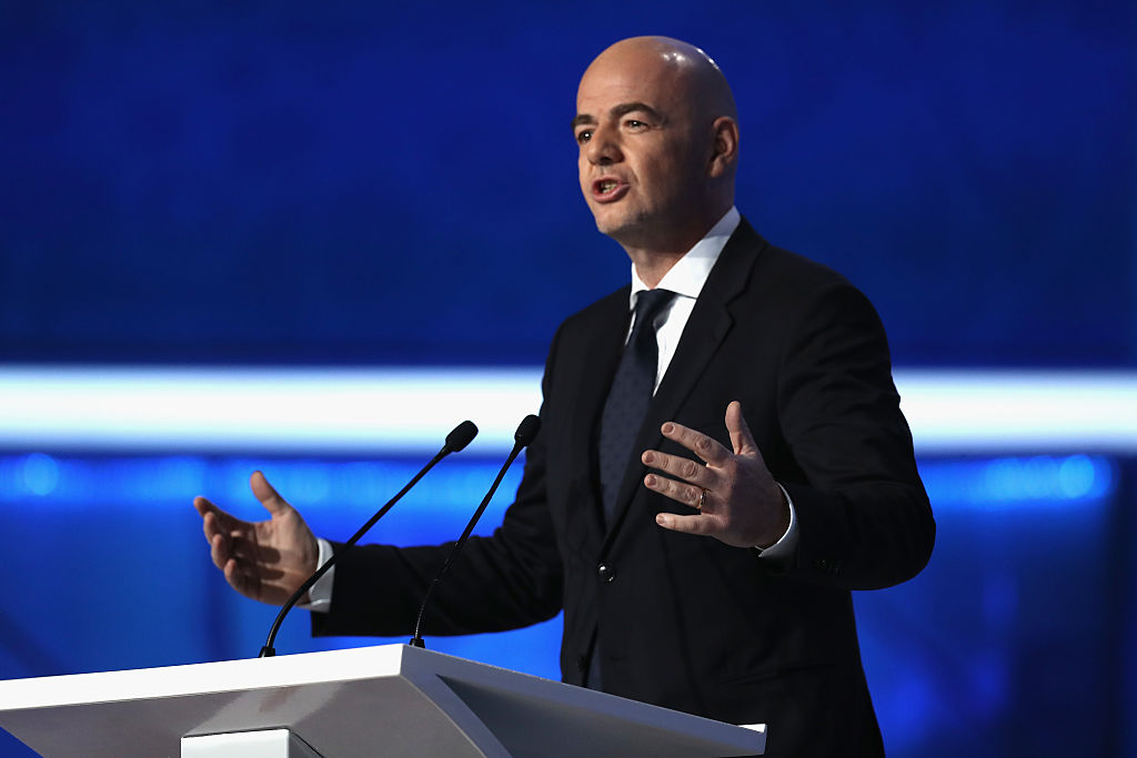 KAZAN, RUSSIA - NOVEMBER 26:  FIFA President Gianni Infantino speaks  during the Official Draw for the FIFA Confederations Cup Russia 2017 at Kazanskaya akademiya tennisa (Kazan Tennis Academy) on November 26, 2016 in Kazan, Russia.  (Photo by Alexander Hassenstein - FIFA/FIFA via Getty Images)