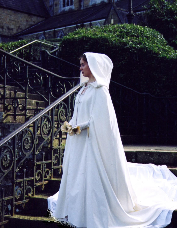 bridal wedding dress cape The Sinead Bridal Cloak Hood Item No handcrafted in Ireland by Siobhan