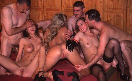 Threesome having sex