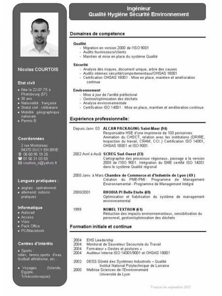 cv ingenieur france exemple