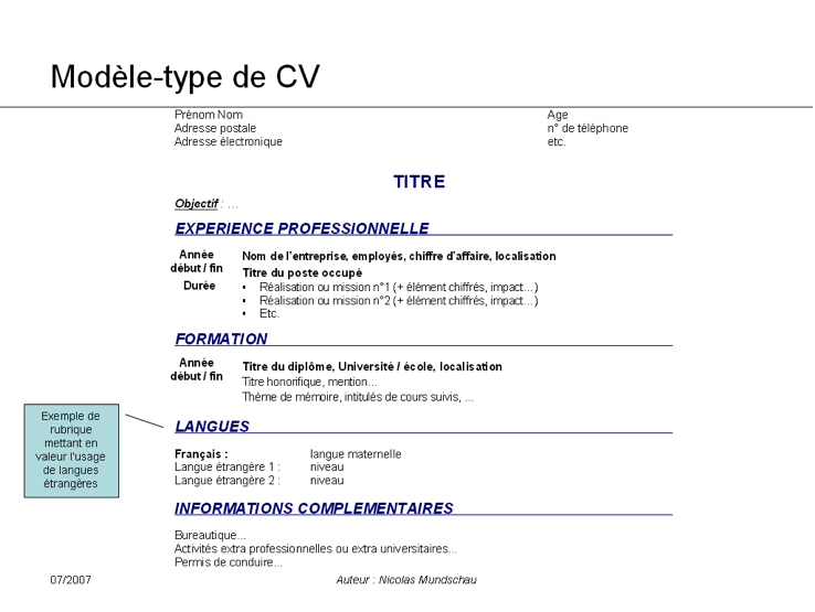 cv exemple maths