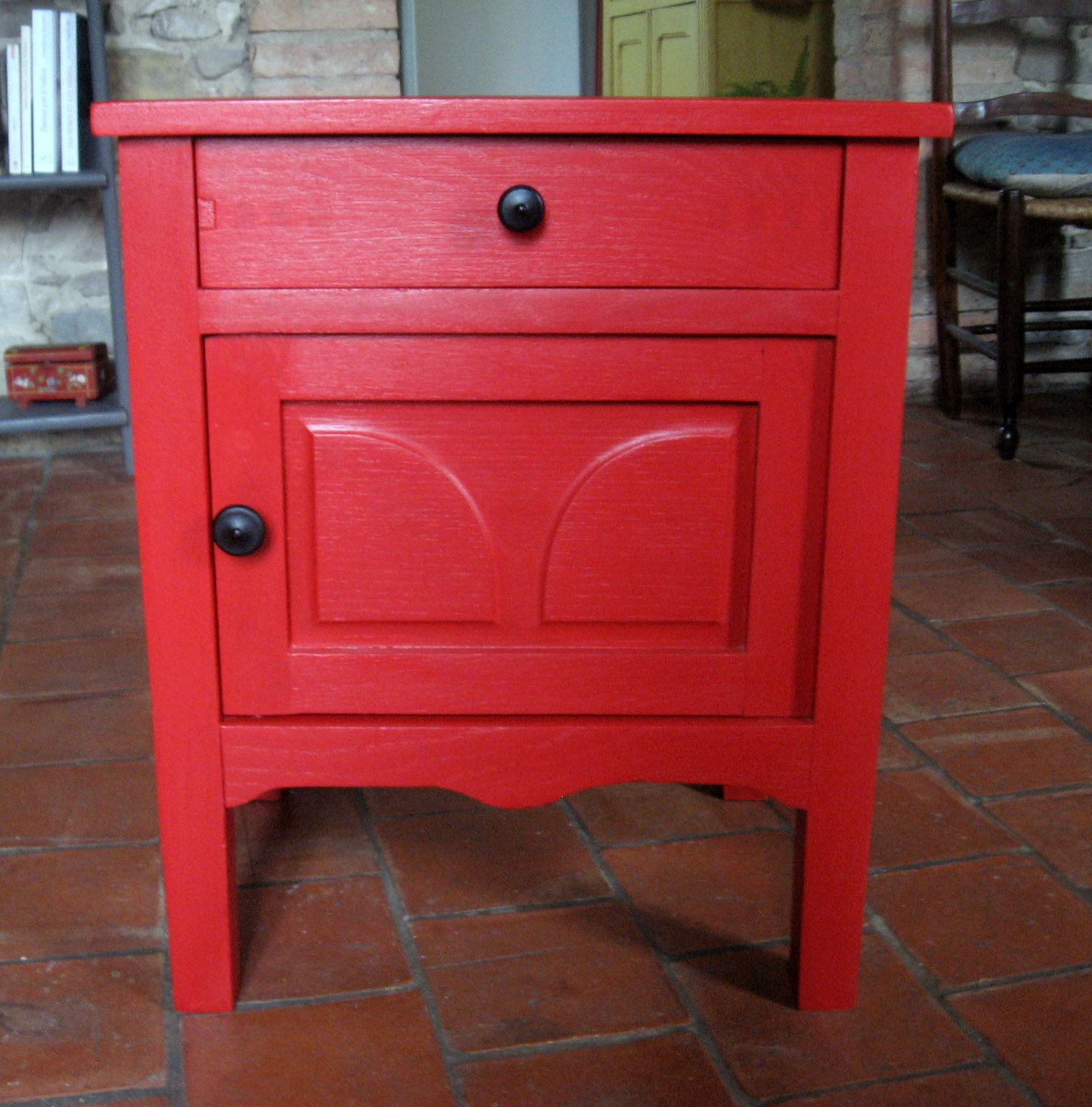 Chevet Rouge Table Chevet Rouge