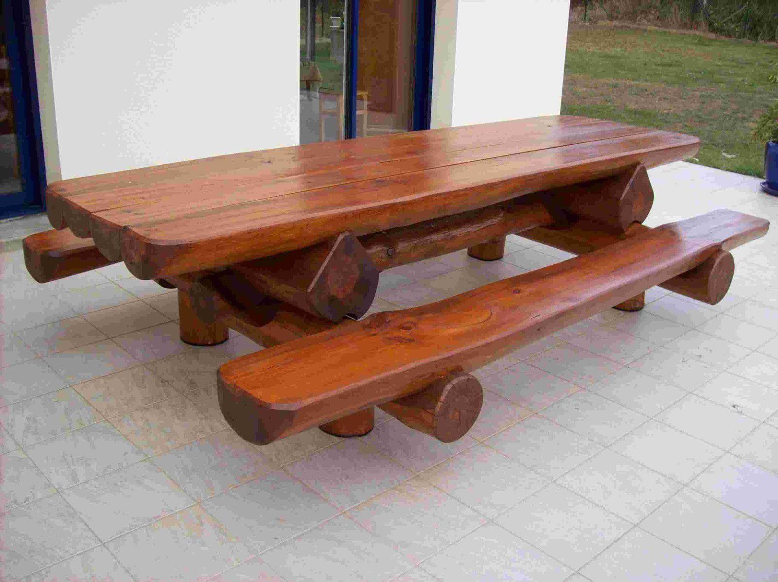 Table Banc Bois Exterieur Album Tables Jardin Rondins Rondinsdesbois Fr