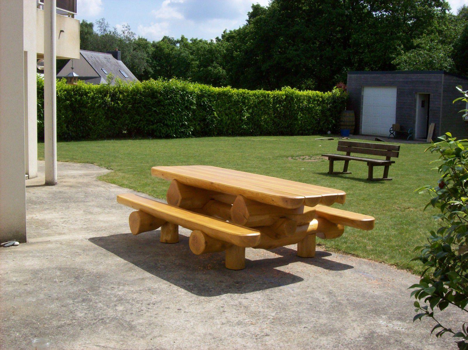 Table Bois Exterieur Avec Banc | Table De Jardin Forestière ...