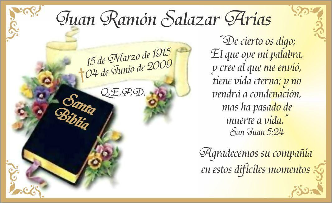 Tarjetas de Agradecimiento de Condolencia, Defuncion, Pesame