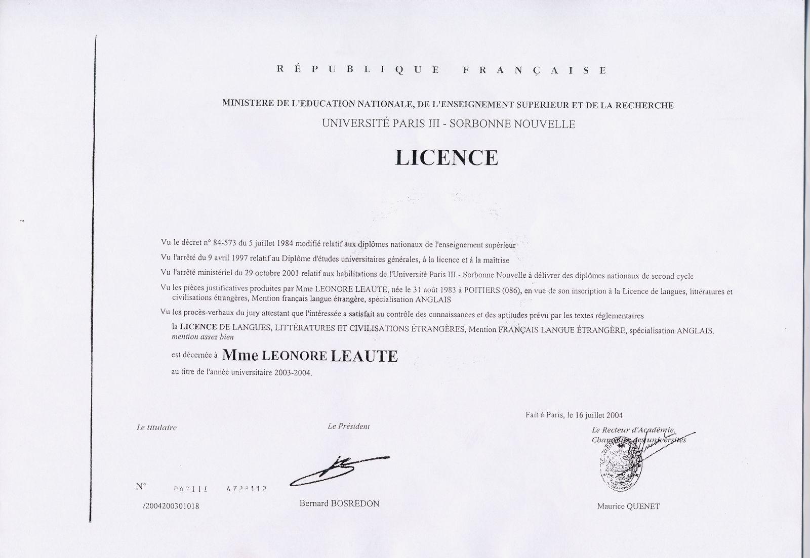cv anglais driving licence