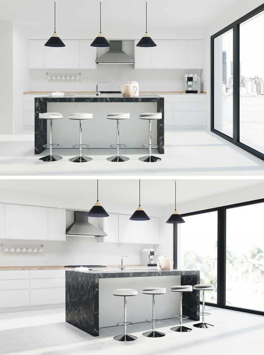 Cucina Bianca Con Isola | Cucina Moderna Bianca La Soluzione Di ...